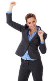 Happy and ecstatic businesswoman on white Royalty Free Stock Photo