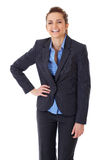 Happy and ecstatic businesswoman on white Stock Photo