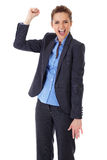 Happy and ecstatic businesswoman on white Stock Photos
