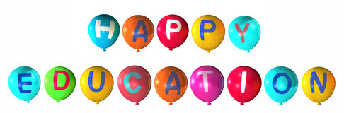 Happy education. With colorful balloons Stock Images