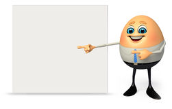 Happy Egg as business man with sign Royalty Free Stock Photo