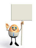 Happy Egg as business man with Sign Stock Image