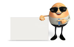 Happy Egg as business man with Sign Stock Images