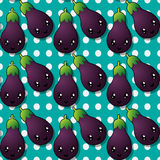 Happy eggplant pattern Stock Images