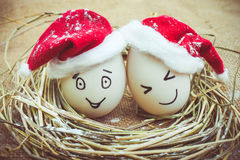 Happy eggs with painted faces in the nest for Christmas. Toned image Stock Photo