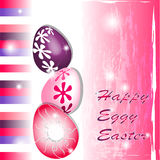 Happy Eggy Easter in pink and purple. With stripes Stock Photo