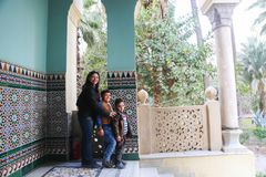 Happy Egyptian family. Egyptian mother with Children at Fatimid Cairo - old Cairo - Egypt Royalty Free Stock Photo