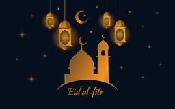 Happy Eid al fitr with lantern and gold color stock illustration