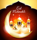 Happy eid background with mosque Stock Images