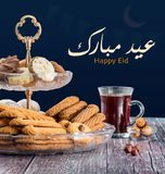 Group of Sweet Cookies with Sugar. A Happy Eid El-Fitr Sweet Cookies, A Greeting Card royalty free stock photo