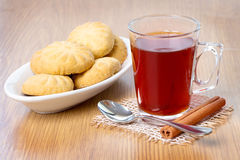 Happy Eid. Kahk El Eid with glass of tea - Eid El Fitr Royalty Free Stock Photo
