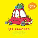 Happy eid mubarak. Greeting card happy eid mubarak with car cartoon illustration, back to hometown drive the car, Muslim tradition stock illustration