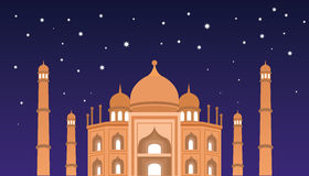 Happy Eid mubarak greetings and celebrate mosque at night Royalty Free Stock Photos