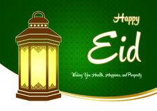 Happy Eid Ramadhan Green Greeting Card with Lantern and Wishes. Illustration of Ramadhan and Happy Eid Mubarak Greeting Card for Islamic Celebration with Lantern Stock Image