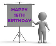 Happy Eighteenth Birthday Board Shows Happy Stock Photo