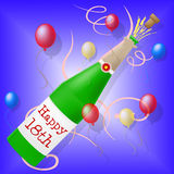 Happy Eighteenth Birthday Shows Greeting Congratulating And Greetings. Happy Eighteenth Birthday Representing Party Celebrating And Greeting Royalty Free Stock Photos