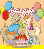 Happy Eighth Birthday. A joyous and colorful picture of a squirrel family celebrating their son's eighth birthday stock illustration