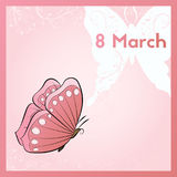 Happy eighth of March. Template postcards with butterfly.. Happy eighth of March. Template postcards with pink butterfly. E card vector illustration Royalty Free Illustration