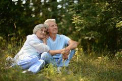 Happy elder couple resting on grass Stock Photo