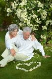 Happy elder couple resting on grass Stock Images