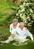Happy elder couple resting on grass Royalty Free Stock Photos