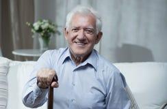 Happy elder man. Elder and ill man is very happy Stock Photo