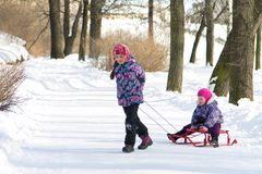 Happy elder sister pulling her young sister on the sleds in snowy winter park Royalty Free Stock Photo