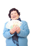 Happy elder woman holding Euro banknotes Stock Image