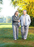 Happy elderly couple. In love in park Royalty Free Stock Photos