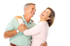 Happy elderly couple. In love. Isolated over white background stock photo