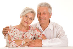Happy elderly couple. Together on a white background Stock Photos