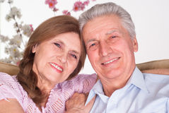 Happy elderly couple. On a white background Royalty Free Stock Photos