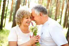 Happy elderly couple. Smiling happy  elderly couple in love outdoor Royalty Free Stock Photo