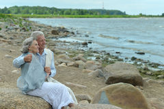 Happy elderly couple at beach Royalty Free Stock Photography