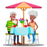Happy Elderly Couple In Cafe At A Table Drinking Coffee Together Vector. Isolated Illustration royalty free illustration