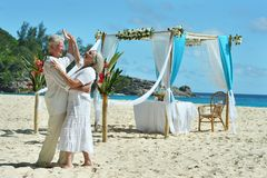 Happy elderly couple dancing. On tropical  beach Stock Images