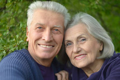 Happy elderly couple embracing. Portrait of a happy elderly couple embracing Royalty Free Stock Photos