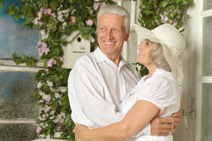 Happy elderly couple embracing Royalty Free Stock Photography