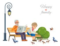 Free Happy Elderly Couple Feeding The Birds On A Park Bench, Isolate On White Background. Vector Flat Illustration. Stock Photography - 173227082