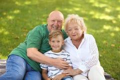 Happy elderly couple in park royalty free stock photo