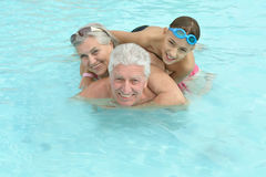 Happy Elderly couple with grandson Royalty Free Stock Images