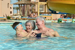 Happy Elderly couple with grandson Royalty Free Stock Image