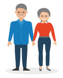 Happy elderly couple holding hands and smiling. European cute family. Cartoon vector flat-style illustration Royalty Free Stock Image