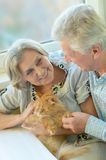 Happy elderly couple at home Royalty Free Stock Photo