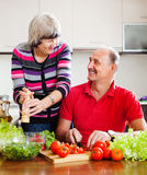Happy elderly couple  in home kitchen Royalty Free Stock Images