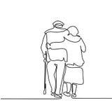 Happy elderly couple hugging and walking. Continuous line drawing. Happy elderly couple hugging and walking. Vector illustration stock illustration