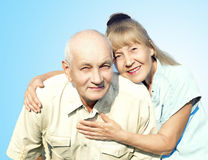 Happy elderly couple isolated Stock Photography