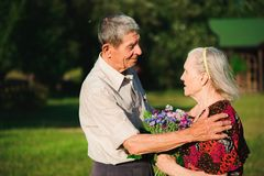 Happy elderly couple at nature. Happy old people royalty free stock image