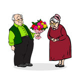 Happy elderly couple. Old man with a bouquet of flowers. Elderly Royalty Free Stock Photography