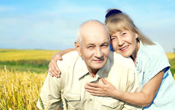Happy elderly couple outdoor Royalty Free Stock Photography